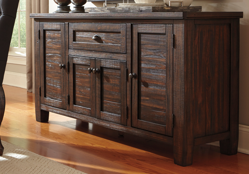 Trudell dark brown dining room server lexington for Dining room server
