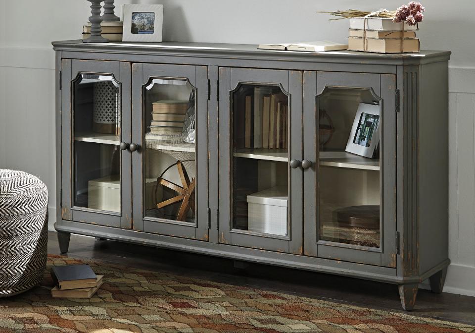 Mirimyn Antique Gray Door Accent Cabinet Lexington Overstock Warehouse