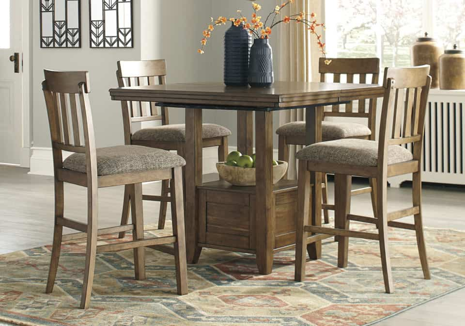 Flaybern Light Brown 5PC. Counter Height Dining Set