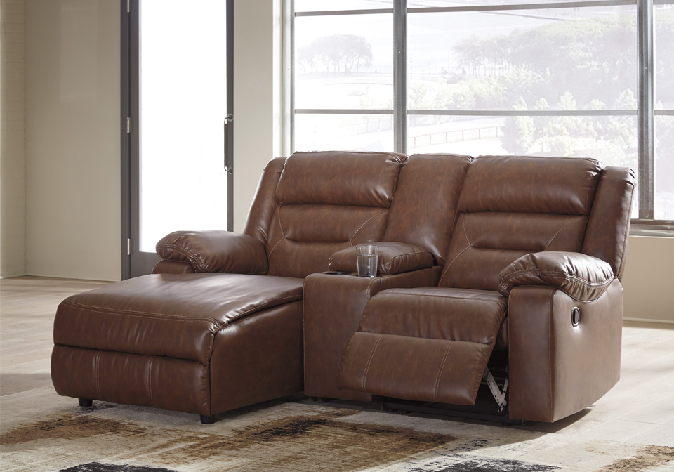 Coahoma Chestnut 3pc Laf Power Reclining Chaise Sectional W Console
