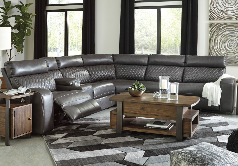 Samperstone Gray 6pc Power Reclining Sectional W Console