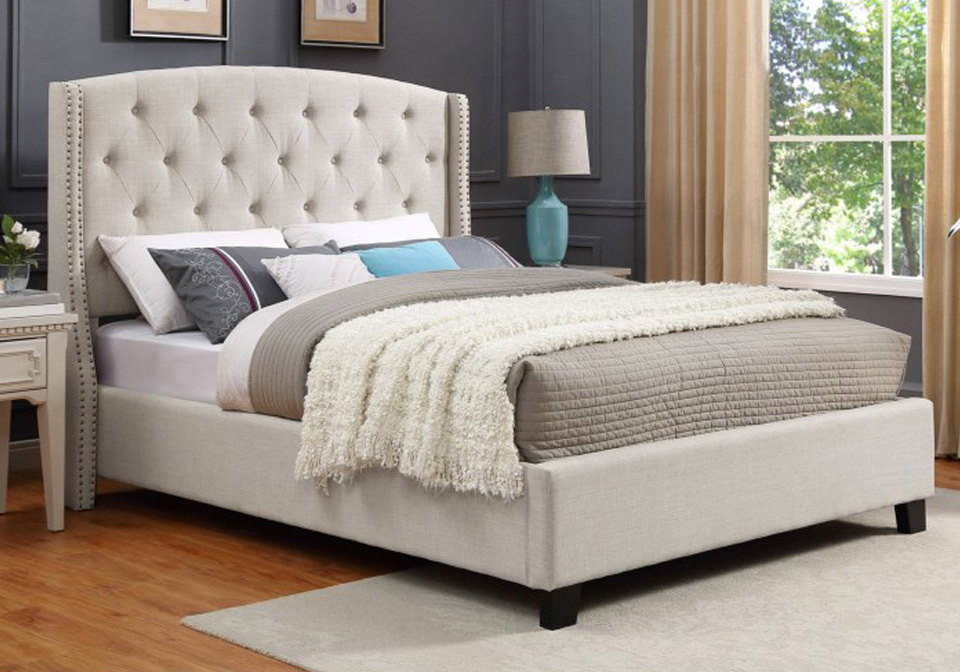 Eva Ivory Upholstered King Panel Bed Lexington Overstock Warehouse