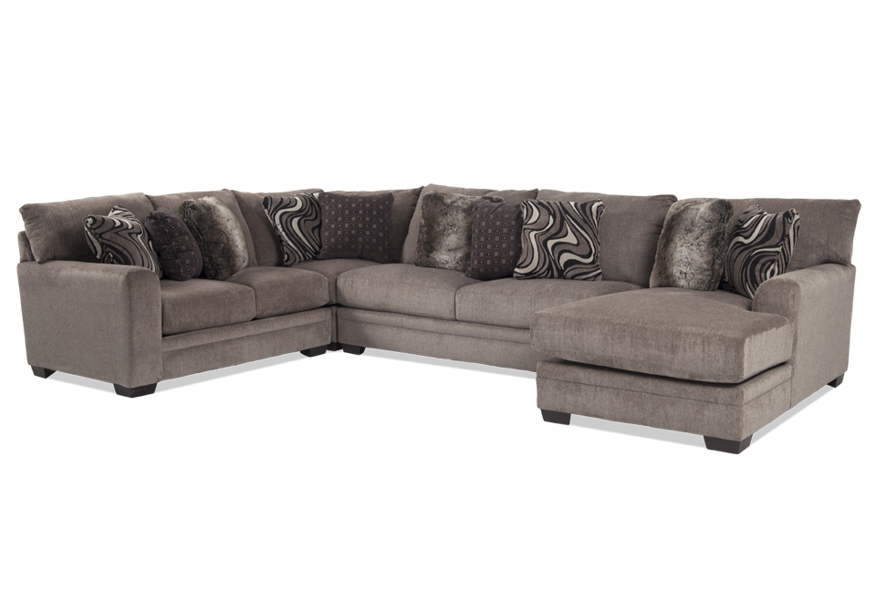 Wondrous Luxe Pewter 4Pc Raf Chaise Sectional Pdpeps Interior Chair Design Pdpepsorg