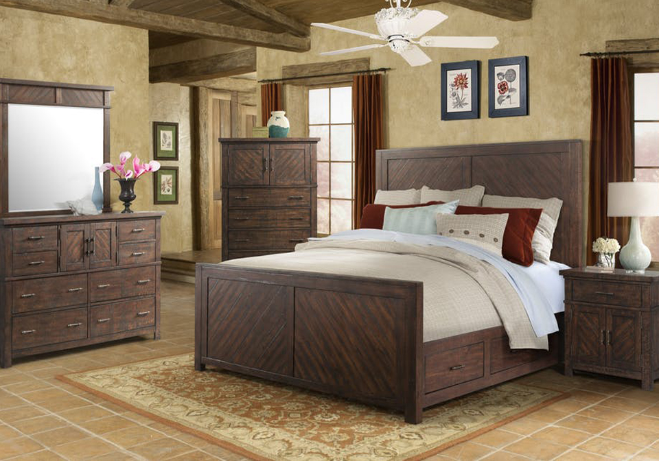 Sensational Elements Jax Walnut Queen Panel Storage Bedroom Set Download Free Architecture Designs Terstmadebymaigaardcom