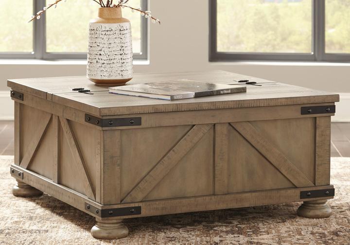Aldwin Gray Rectangular Storage Cocktail Table Lexington Overstock  Warehouse