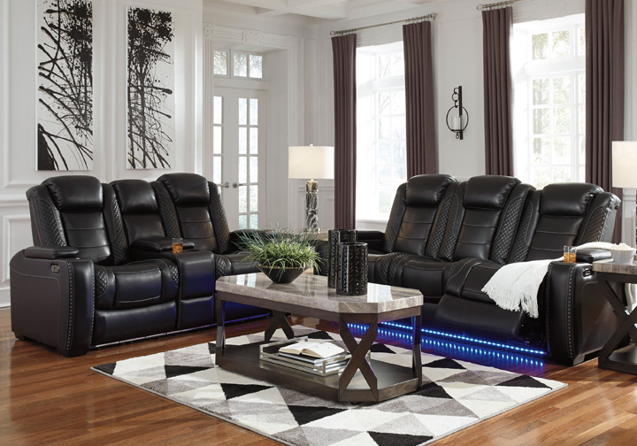 Party Time Midnight Power Reclining Sofa Set W Console Adjustable