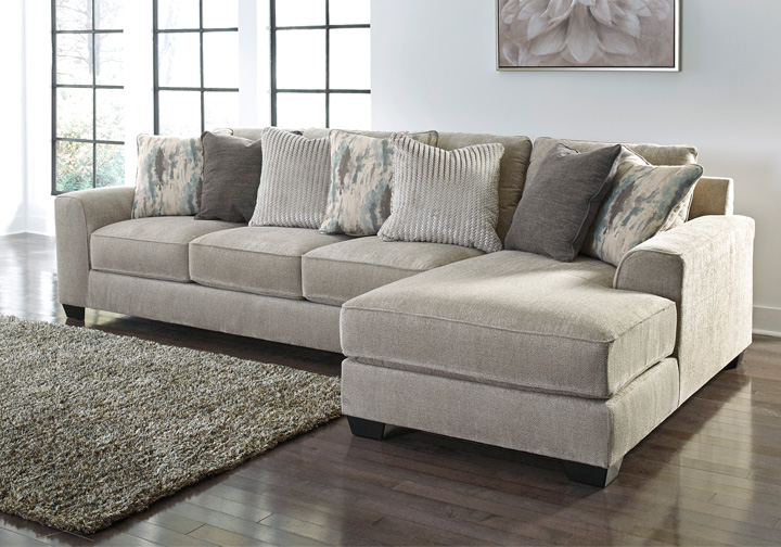 Ardsley Pewter 2pc Raf Chaise Sectional Lexington