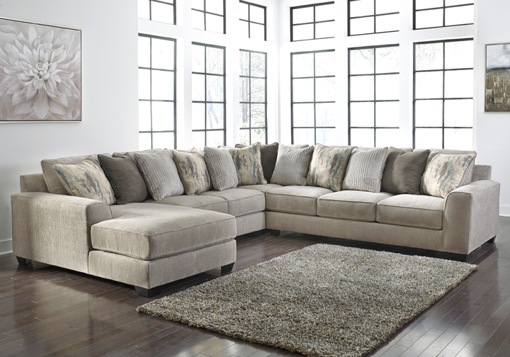 Ardsley Pewter 4pc Laf Chaise Sectional Lexington