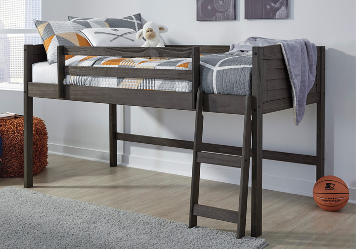 Twin Loft Bed.Caitbrook Gray Twin Loft Bed Frame