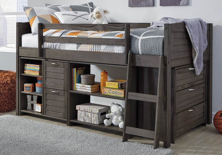 Twin Loft Bed.Caitbrook Gray Twin Loft Bed W Storage Chest And Shelves