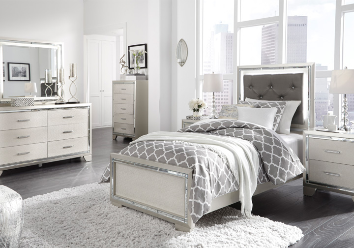 Lonnix Silver Twin Upholstered Bedroom Set | Lexington Overstock ...