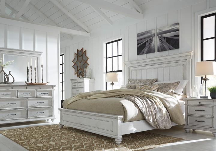 Kanwyn Whitewash King Panel Bedroom Set, Whitewash Bedroom Furniture