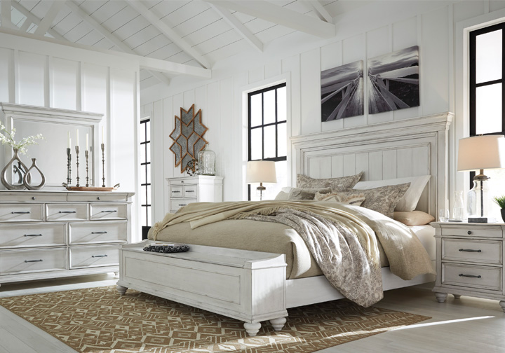 Kanwyn Whitewash Queen Panel Storage Bedroom Set