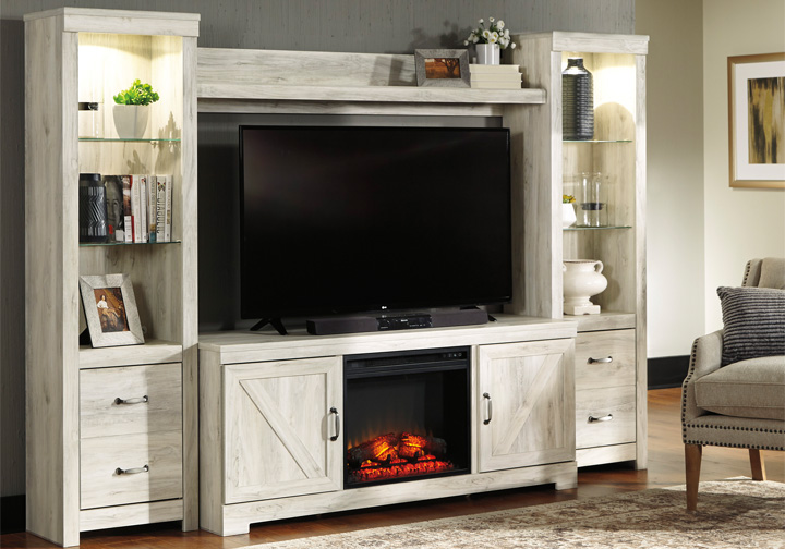 Bellaby White 4pc Fireplace Entertainment Center