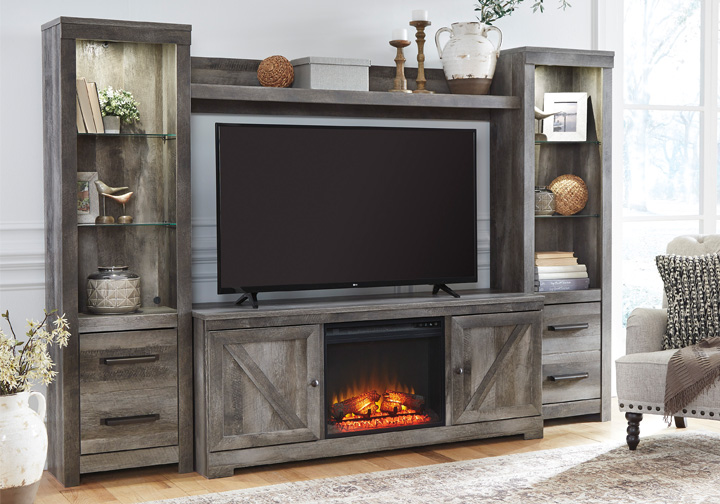 Wynnlow Gray 4pc Fireplace Entertainment Center