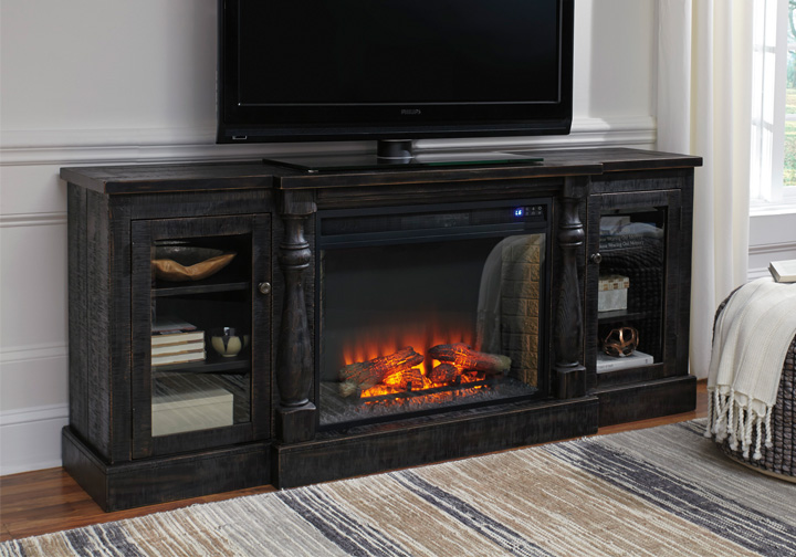 Mallacar Black Extra Large Tv Stand W Fireplace Insert Lexington