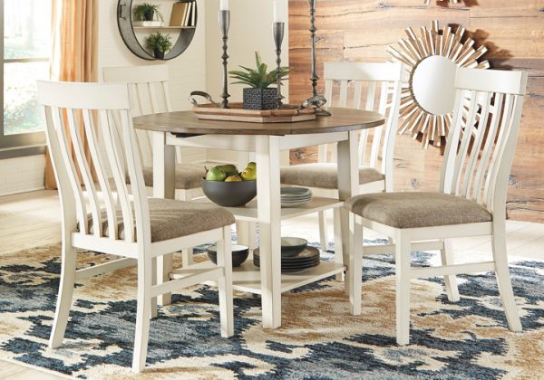 Bardilyn Antique White 5 Pc. Round Drum Drop Leaf Dining Set