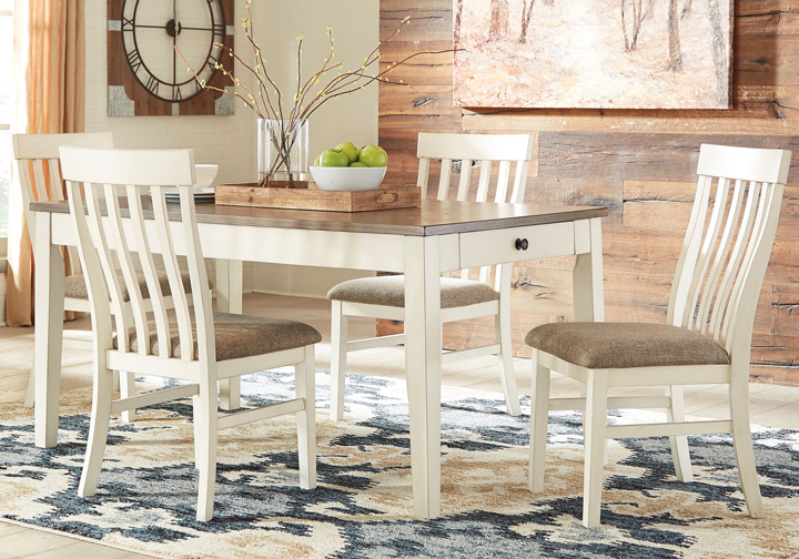 Bardilyn Antique White 6 Pc. Rectangular Dining Set w/ Upholstered Dining  Bench