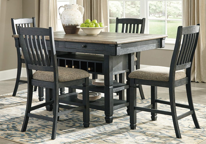 Tyler Creek Two Tone Black 5pc Counter Height Dining Set