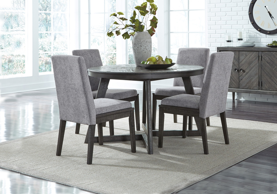 Besteneer Gray Round Dining Room Set