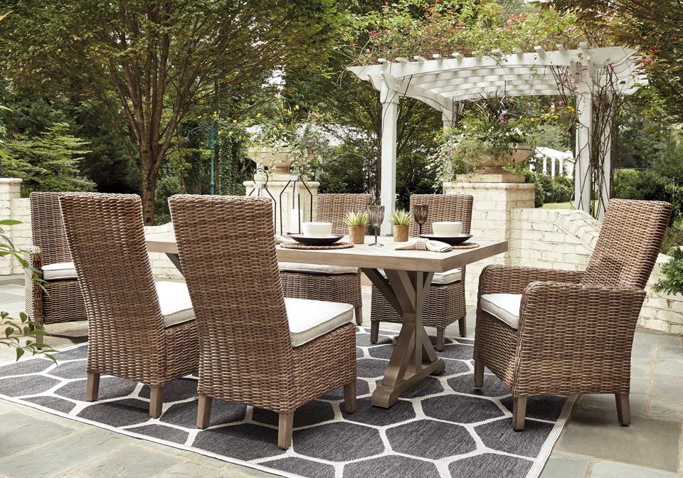 Beachcroft Beige Outdoor Rectangular Dining Table Side/Arm ... on Beachcroft Beige Outdoor Living Room Set id=51768