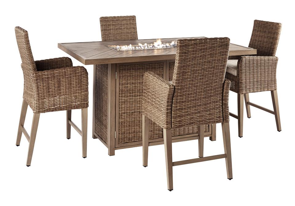 Beachcroft Beige Outdoor Rectangular Bar Table Chair 5pc ... on Beachcroft Beige Outdoor Living Room Set id=66239