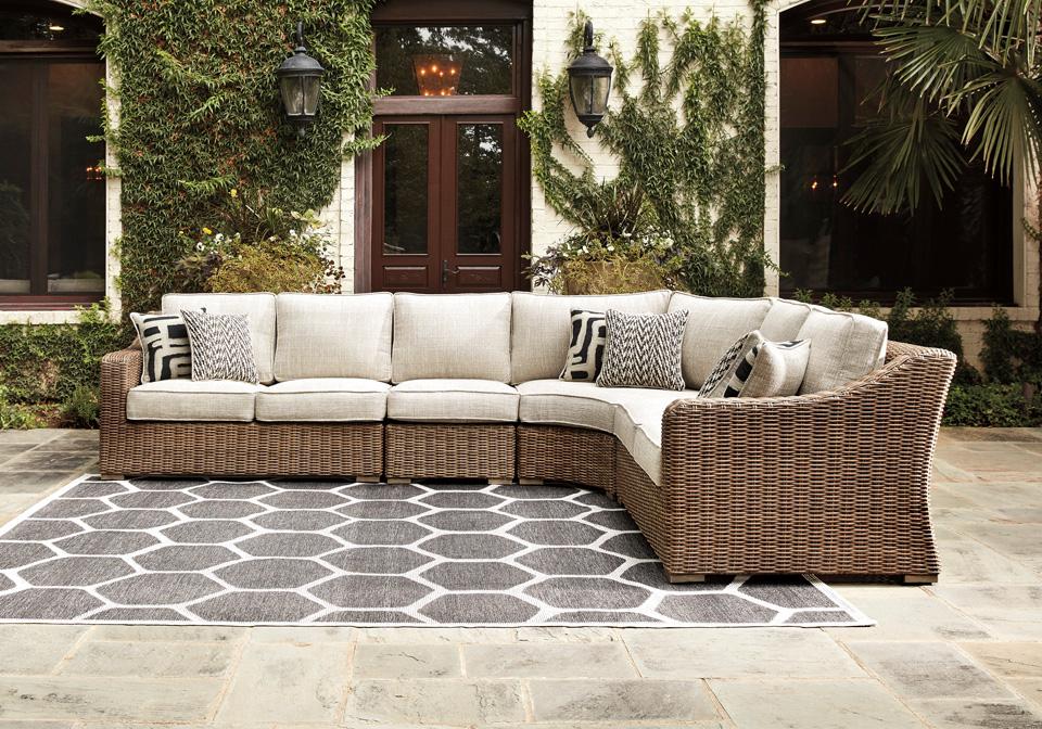Beachcroft Beige Outdoor Love Seat 3pc Sectional ... on Beachcroft Beige Outdoor Living Room Set id=32199