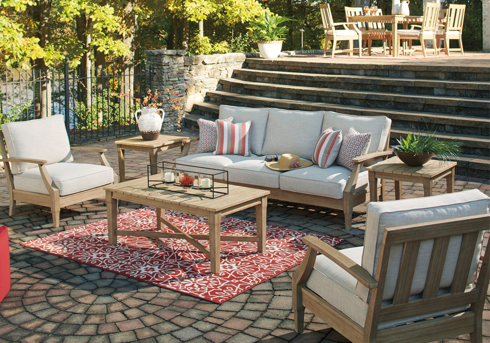 Clare View Light Brown Outdoor Lounge Sofa 6pc Set