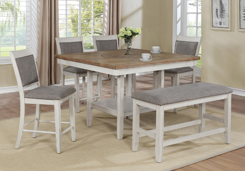 Fulton White Square Counter Height Dining Room Table