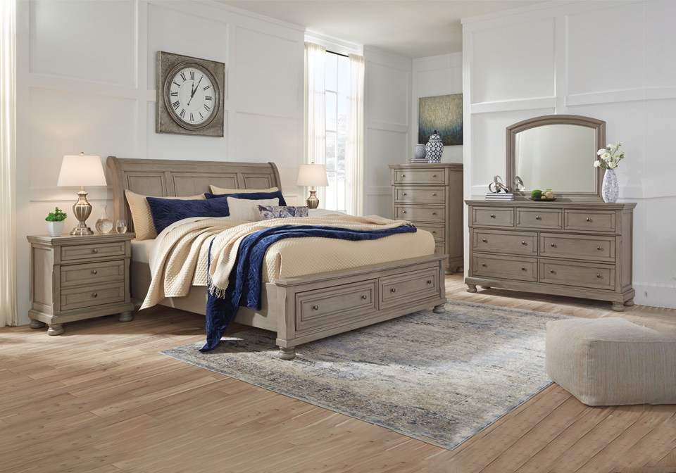 Lettner Light Gray Queen Sleigh Storage Bedroom Set