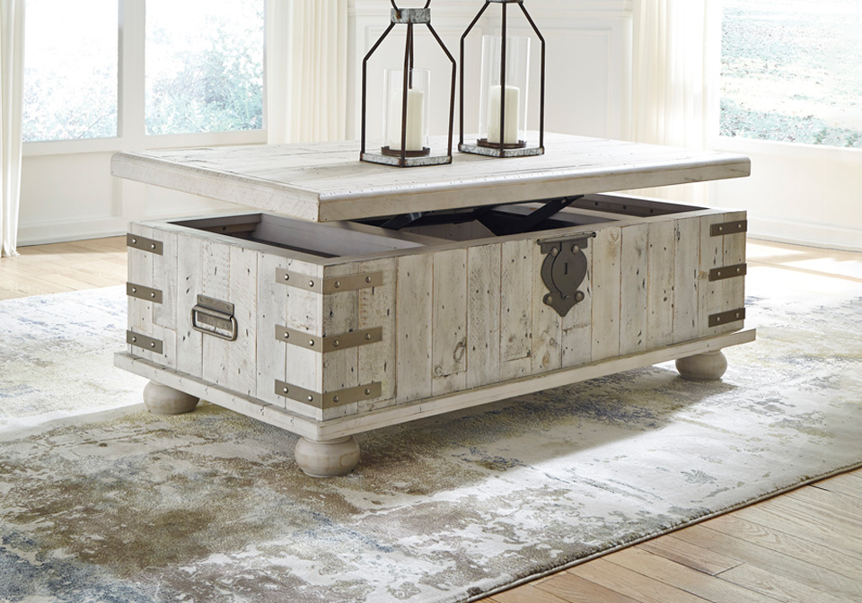 Carynhurst White Wash Gray Lift Top Cocktail Table Lexington