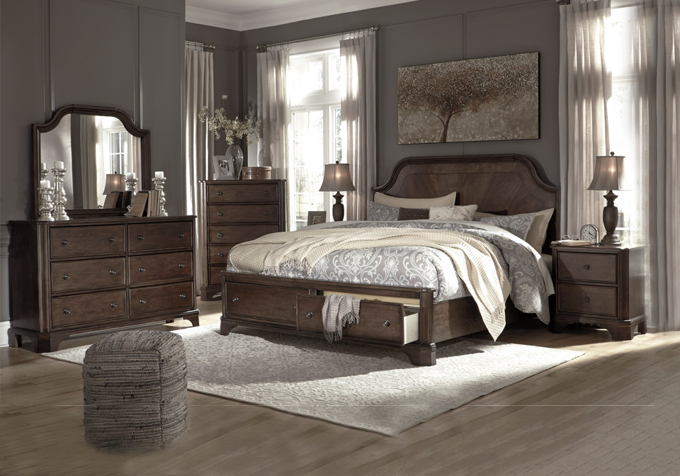 Adinton Brown Queen Panel Storage Bedroom Set