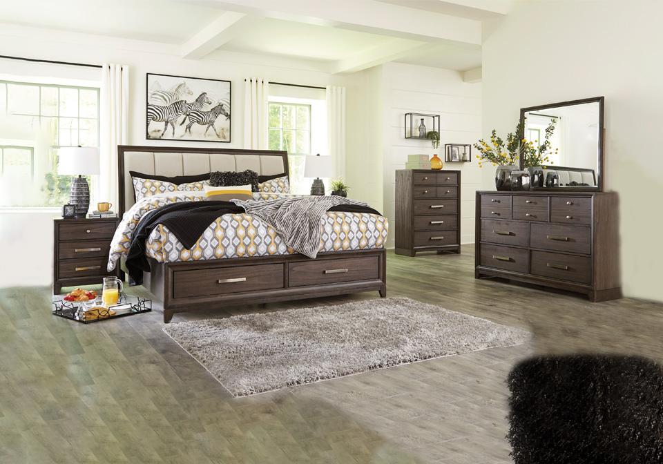 Brueban Brown King Upholstered Storage Bedroom Set Lexington Overstock Warehouse