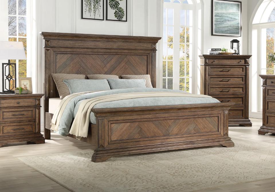 Mar Vista Walnut King Panel Bedroom Set Lexington Overstock Warehouse